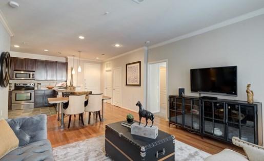 Modern Living Room at La Maison River Oaks Apartments in Houston, Texas