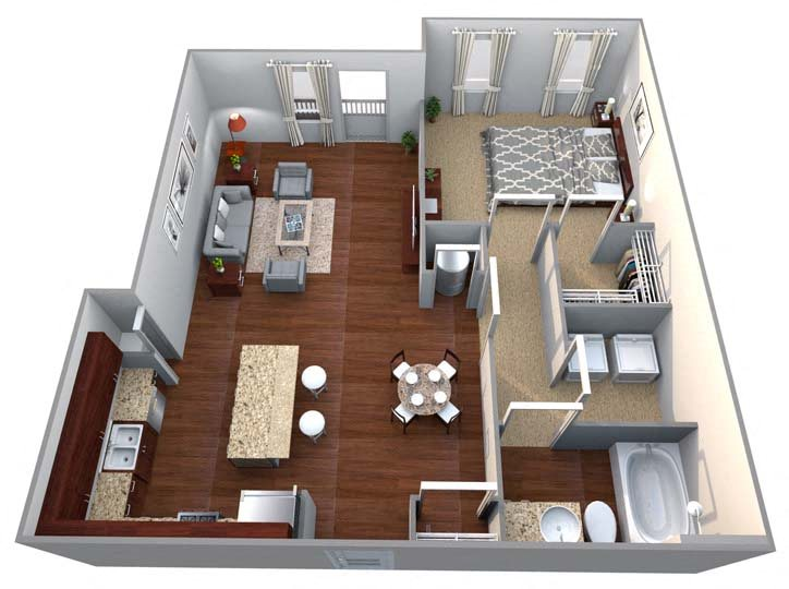 A3 1 Bed/1 Bath Floor Plan 4