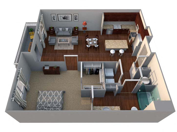 A4 1 Bed/1 Bath Floor Plan 6