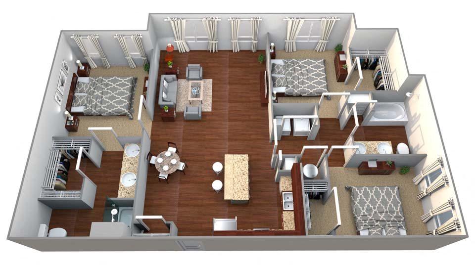 C1 3 Bed/2 Bath Floor Plan 14