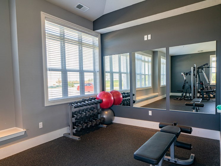 Free Weights In Gym at The Reserve at Destination Pointe, Iowa, 50111
