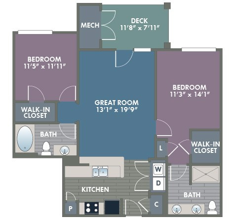Charlotte 2 Bedroom 2 Bath Floor Plan at Abberly at Southpoint Apartment Homes by HHHunt, Fredericksburg, 22407