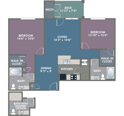 Norfolk 2 Bedroom 2 Bath Floor Plan at Abberly at Southpoint Apartment Homes by HHHunt, Fredericksburg, Virginia