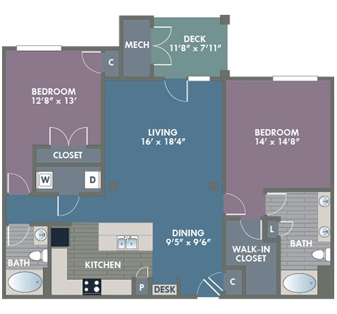Richmond 2 Bedroom 2 Bath Floor Plan at Abberly at Southpoint Apartment Homes by HHHunt, Fredericksburg, VA