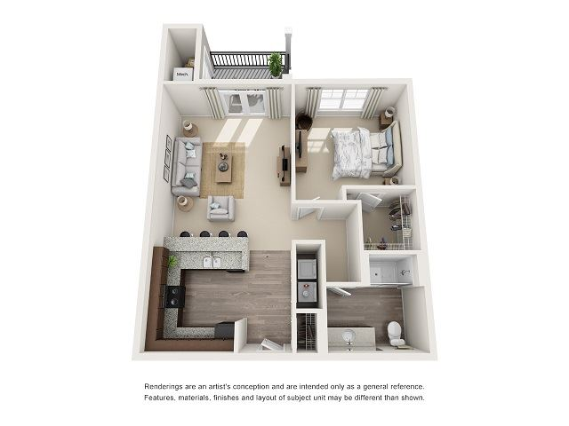 Birmingham 1 Bedroom 1 Bath Floor Plan at Abberly at Southpoint Apartment Homes by HHHunt, Virginia, 22407