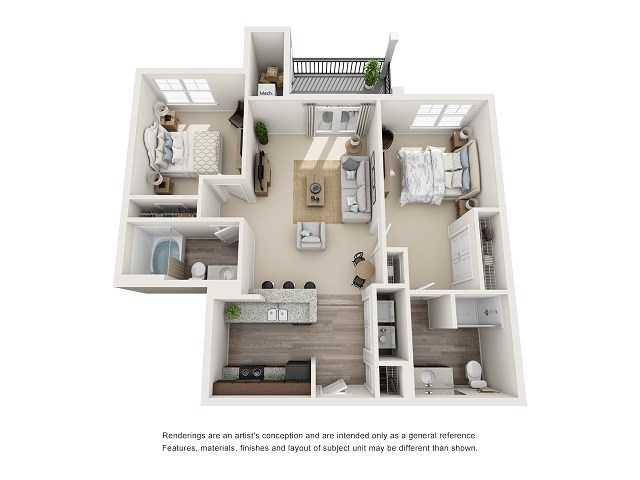 Nashville 2 Bedroom 2 Bath Floor Plan at Abberly at Southpoint Apartment Homes by HHHunt, Fredericksburg, VA