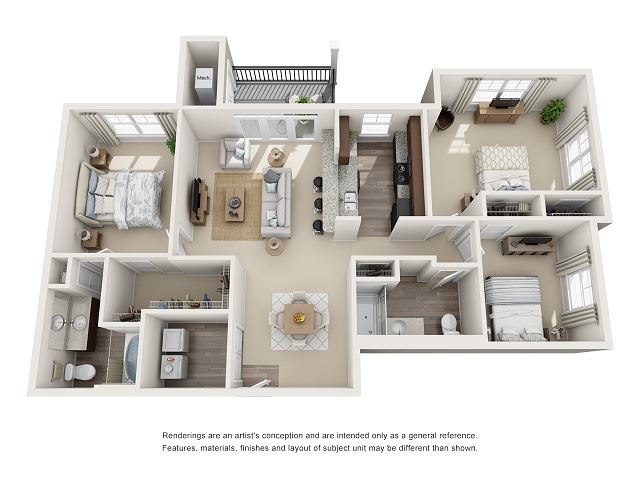 Tuscaloosa Type-A 3 Bedroom 2 Bath Floor Plan at Abberly at Southpoint Apartment Homes by HHHunt, Fredericksburg, VA, 22407