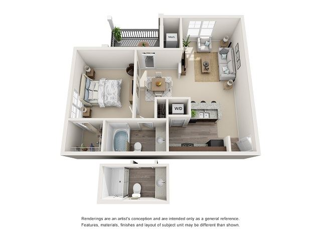 Asheville 1 Bedroom 1 Bath Floor Plan at Abberly at Southpoint Apartment Homes by HHHunt, Fredericksburg, 22407