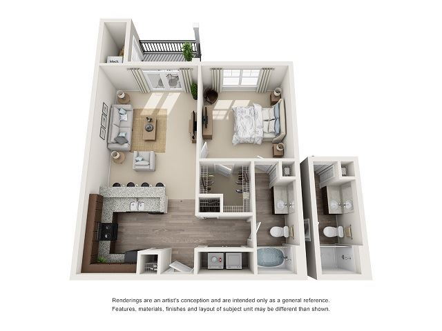 Atlanta 1 Bedroom 1 Bath Floor Plan at Abberly at Southpoint Apartment Homes by HHHunt, Fredericksburg