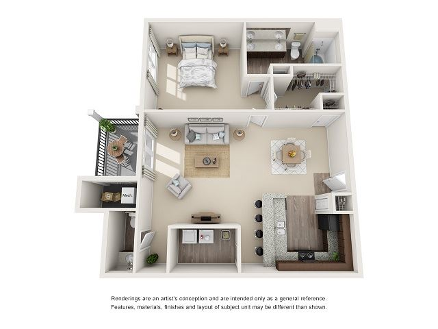 Charleston  1 Bedroom 1.5 Bath Floor Plan at Abberly at Southpoint Apartment Homes by HHHunt, Fredericksburg, Virginia