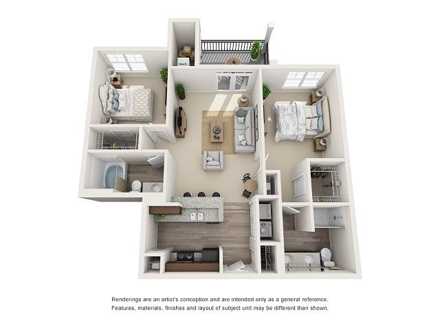 Charlotte 2 Bedroom 2 Bath Floor Plan at Abberly at Southpoint Apartment Homes by HHHunt, Fredericksburg, Virginia