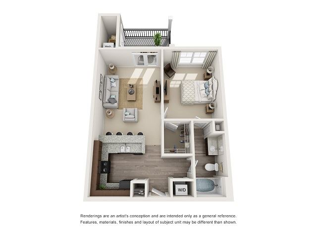 Columbia 1 Bedroom 1 Bath Floor Plan at Abberly at Southpoint Apartment Homes by HHHunt, Fredericksburg, VA