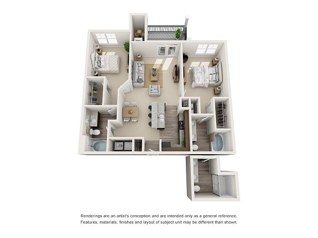 New Orleans 2 Bedroom 2 Bath Floor Plan at Abberly at Southpoint Apartment Homes by HHHunt, Virginia, 22407
