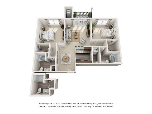 Norfolk 2 Bedroom 2 Bath Floor Plan at Abberly at Southpoint Apartment Homes by HHHunt, Fredericksburg