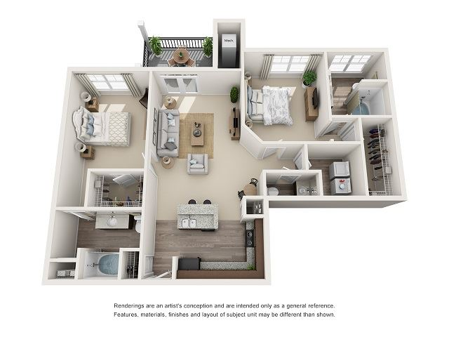 Raleigh 2 Bedroom 2.5 Bath Floor Plan at Abberly at Southpoint Apartment Homes by HHHunt, Virginia