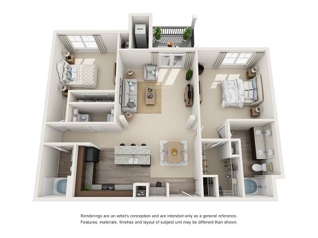 Richmond 2 Bedroom 2 Bath Floor Plan at Abberly at Southpoint Apartment Homes by HHHunt, Fredericksburg, 22407