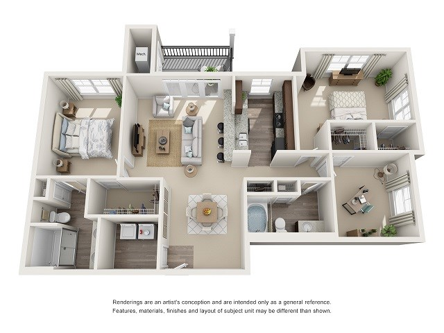 Savannah 2 Bedroom 2 Bath Floor Plan at Abberly at Southpoint Apartment Homes by HHHunt, Fredericksburg, VA, 22407