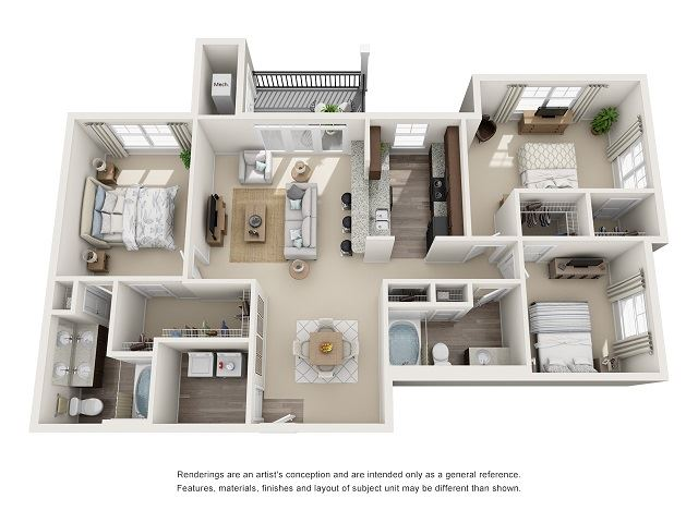 Tuscaloosa Type-B 3 Bedroom 2 Bath Floor Plan \at Abberly at Southpoint Apartment Homes by HHHunt, Virginia