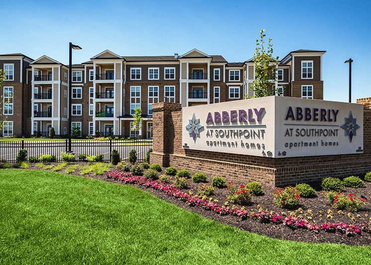 Elegant Entry Sign at Abberly at Southpoint Apartment Homes by HHHunt, Fredericksburg, 22407