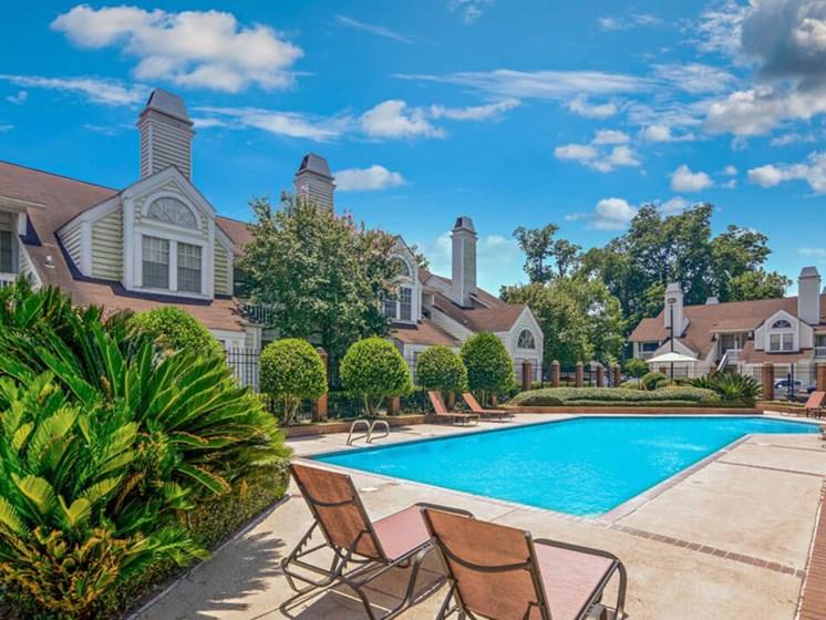 Community swimming pool at Rosewood apartments