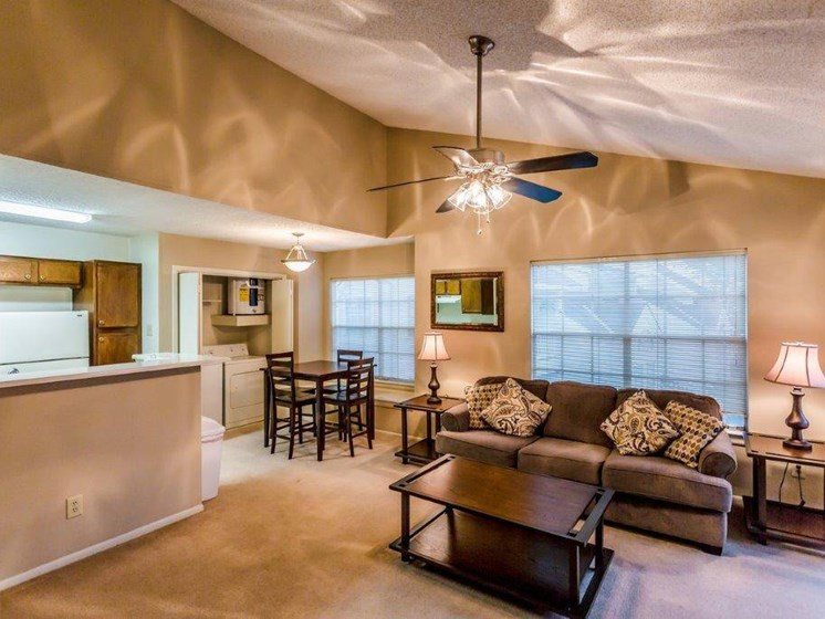 One bedroom vaulted ceilings in the living room at Rosewood Apartments in Alexandria, LA.