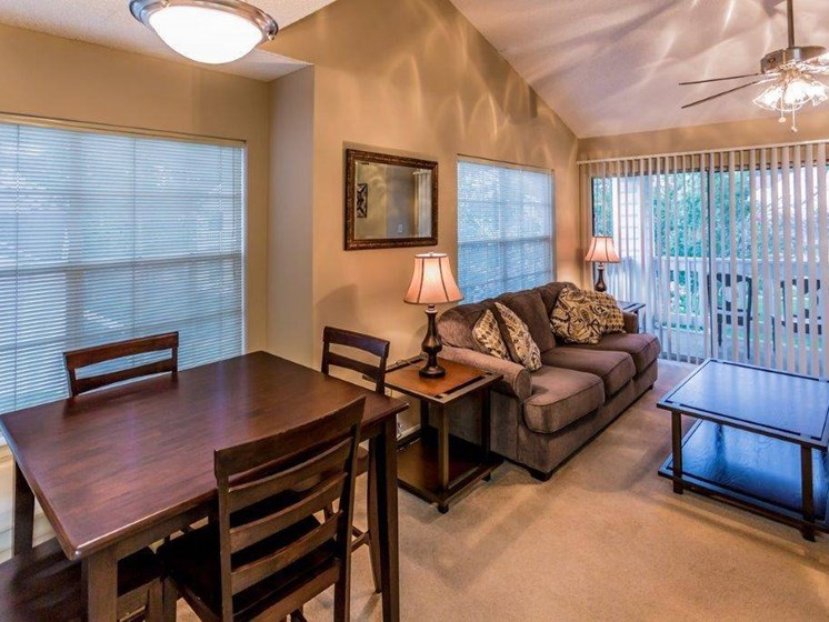 one bedroom dining room area at Rosewood Apartments in Alexandria, LA.