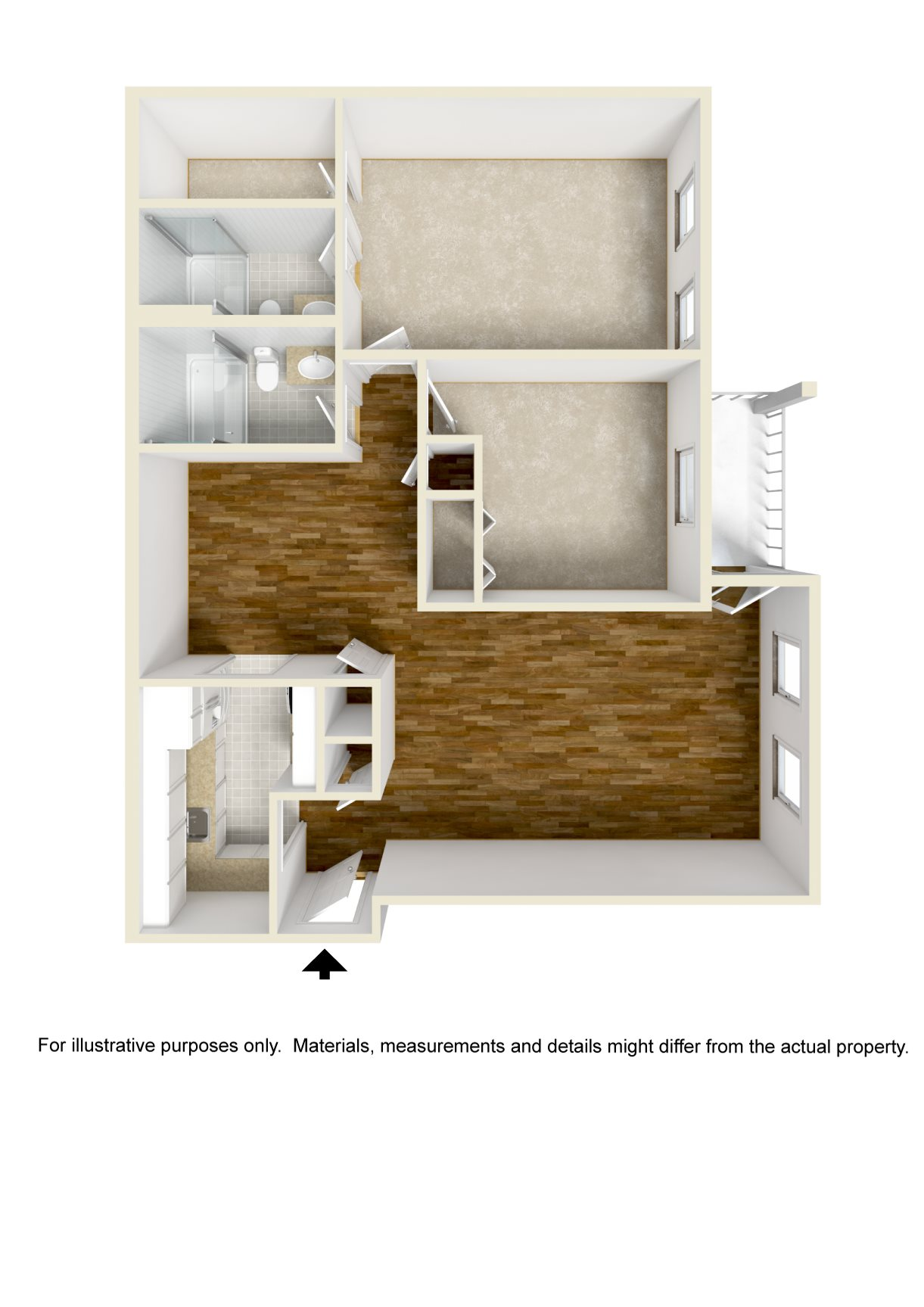 2 Bed - 2 Bath Floor Plan 2