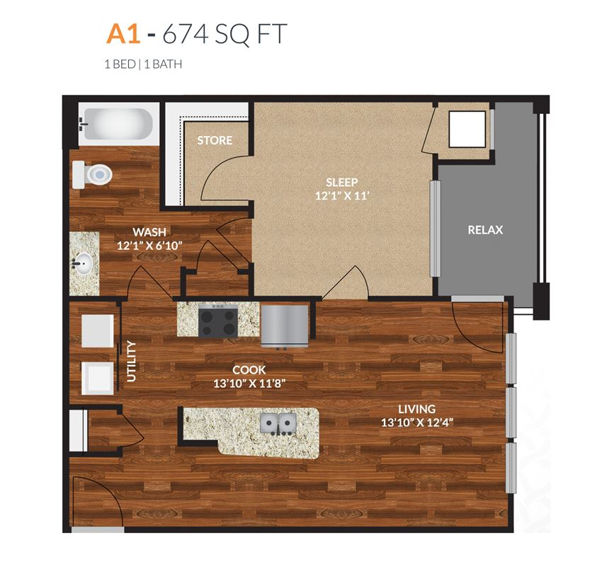 Tapestry Apartments Naperville A1 1 Bed 1 Bath Floor Plan