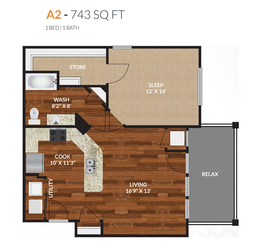 Tapestry Apartments Naperville A2 1 Bed 1 Bath Floor Plan