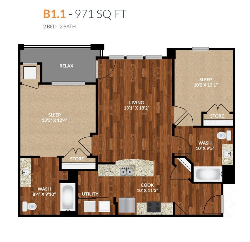 Tapestry Apartments Naperville B1-1 2 Bed 2 Bath Floor Plan