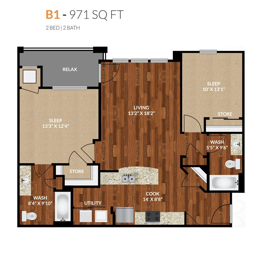 Tapestry Apartments Naperville B1 2 Bed 2 Bath Floor Plan