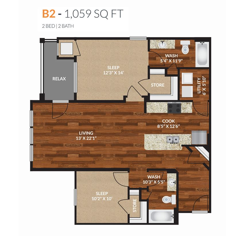 Tapestry Apartments Naperville B2 2 Bed 2 Bath Floor Plan