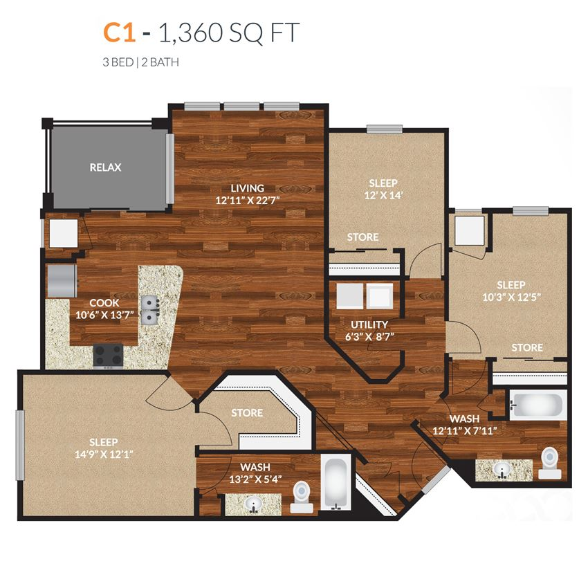 Tapestry Apartments Naperville C1 3 Bed 2 Bath Floor Plan
