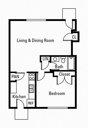 1 Bedroom, 1 Bath 650 sq. ft.
