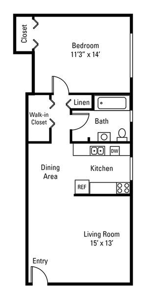 1 Bedroom, 1 Bath 608 sq. ft.