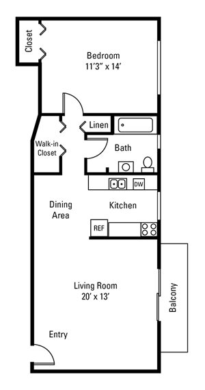 1 Bedroom, 1 Bath 698 sq. ft.