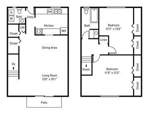 2 Bedroom, 1.5 Bath Townhome 1,055 sq. ft.
