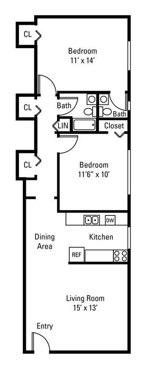 2 Bedroom, 1.5 Bath 808 sq. ft.