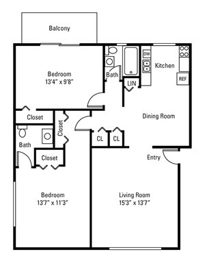 2 Bedroom, 1.5 Bath 860 sq. ft.