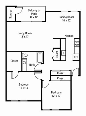 2 Bedroom, 1 Bath 1,070 sq. ft.