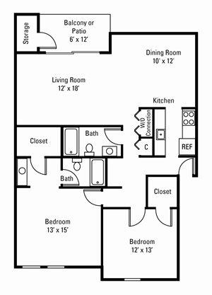 2 Bedroom, 2 Bath 1,150 sq. ft.