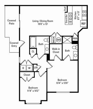 2 Bedroom, 2 Bath 1,087 sq. ft.