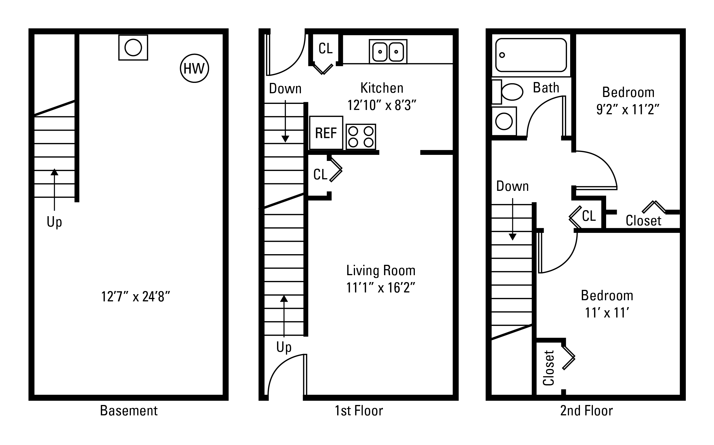 2 Bedroom, 1 Bath Townhome 600 Sq. Ft.