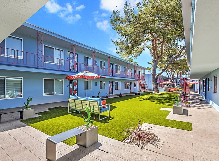 The Neon Apartments Courtyard