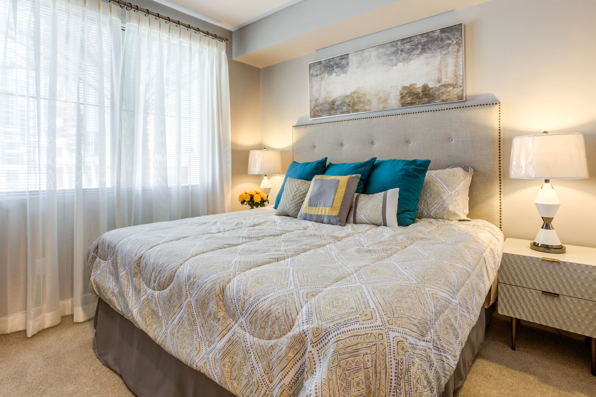 Phoenix AZ Apartments -Biltmore at Camelback Carpeted Bedroom with Large Walk-In Closet