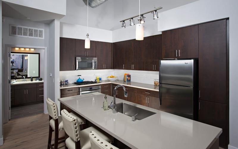 Phoenix Apartments -Biltmore at Camelback Kitchen with Matching Stainless Steel Appliances and Large Island