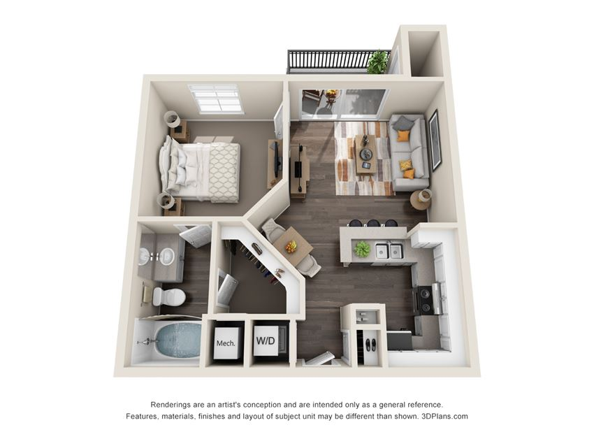 Esquire, 1 Bed, 1 Bath, 636 sq. ft.