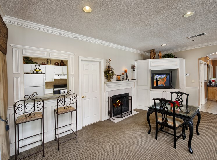 Spacious Living Room With Fireplace at Brook Valley