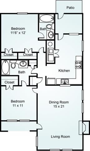 Willow, 2 Bed, 2 Bath, 1200 sq. ft.