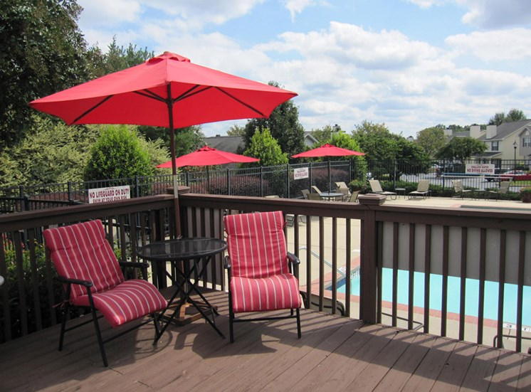 Sundeck with Red Umbrellas